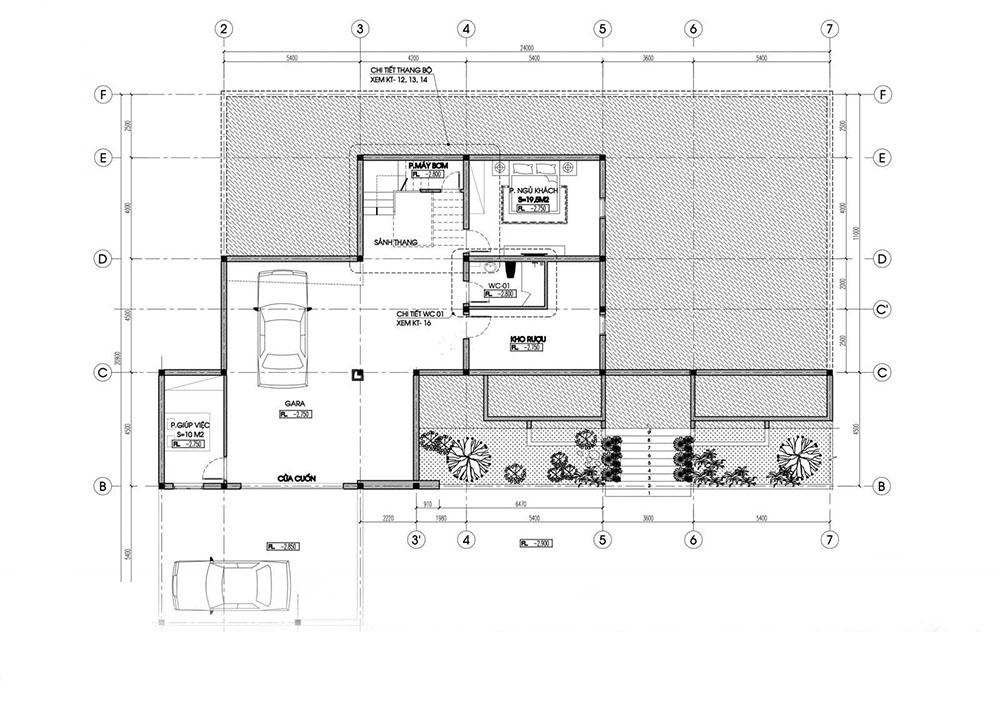 Thiết kế tầng bán hầm để gara ô tô và nhà kho rượu