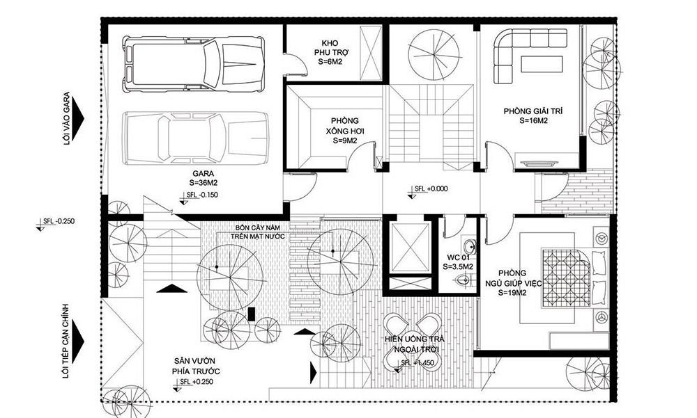 Mặt bằng tầng 1 với gara ô tô cùng phòng xông hơi, phòng giải trí