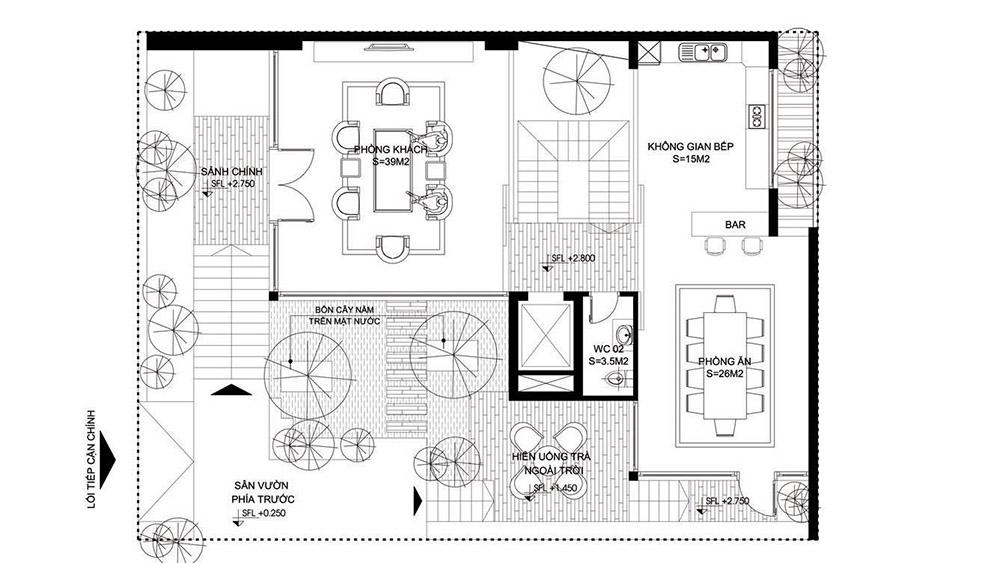 Tầng 2 là không gian sinh hoạt chung với phòng khách và bếp rộng rãi