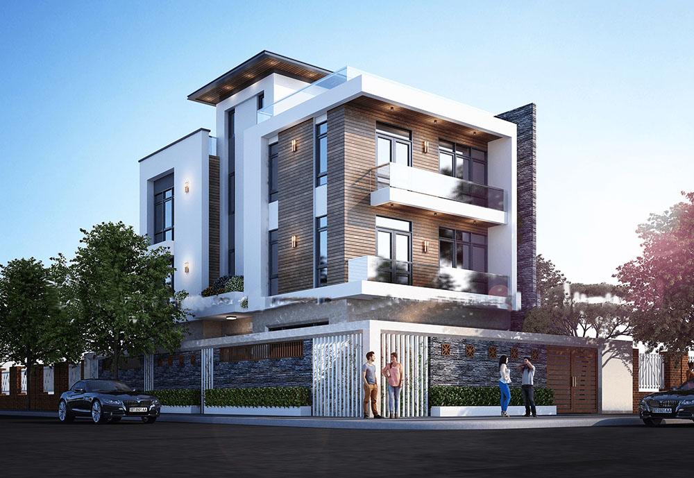 Biệt thự 3 tầng với kiến trúc hiện đại uy nghi đẳng cấp