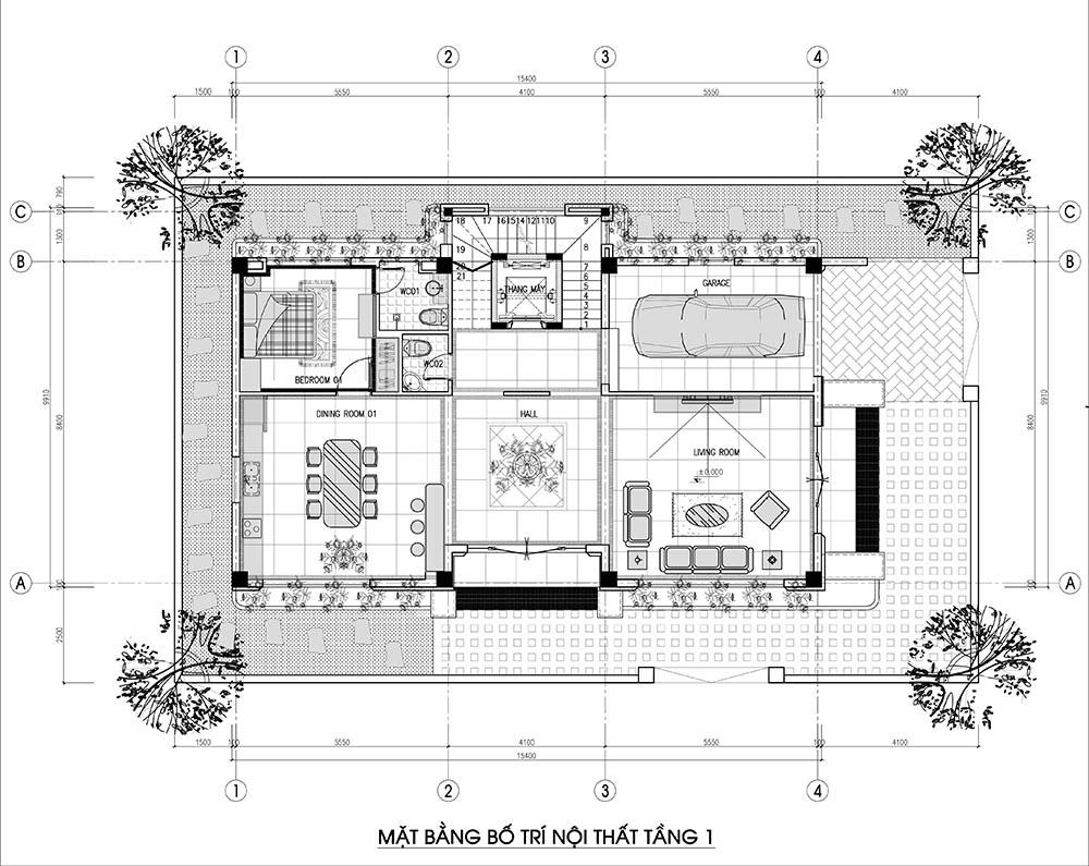 Mặt bằng công năng tầng với phòng khách và bếp của gia đình
