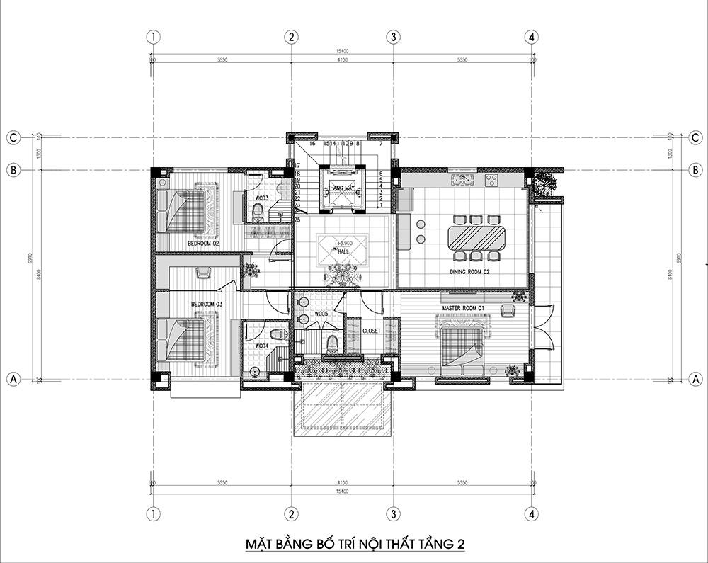 Mặt bằng tầng 2 có 3 phòng ngủ cùng phòng ăn dự phòng