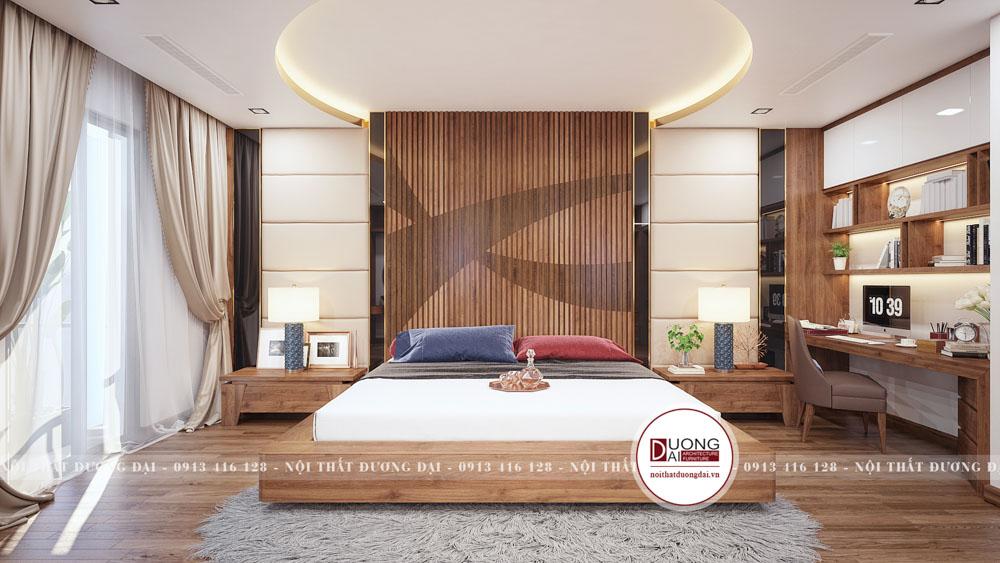 Phòng ngủ 15m2 sang trọng với nội thất gỗ óc chó
