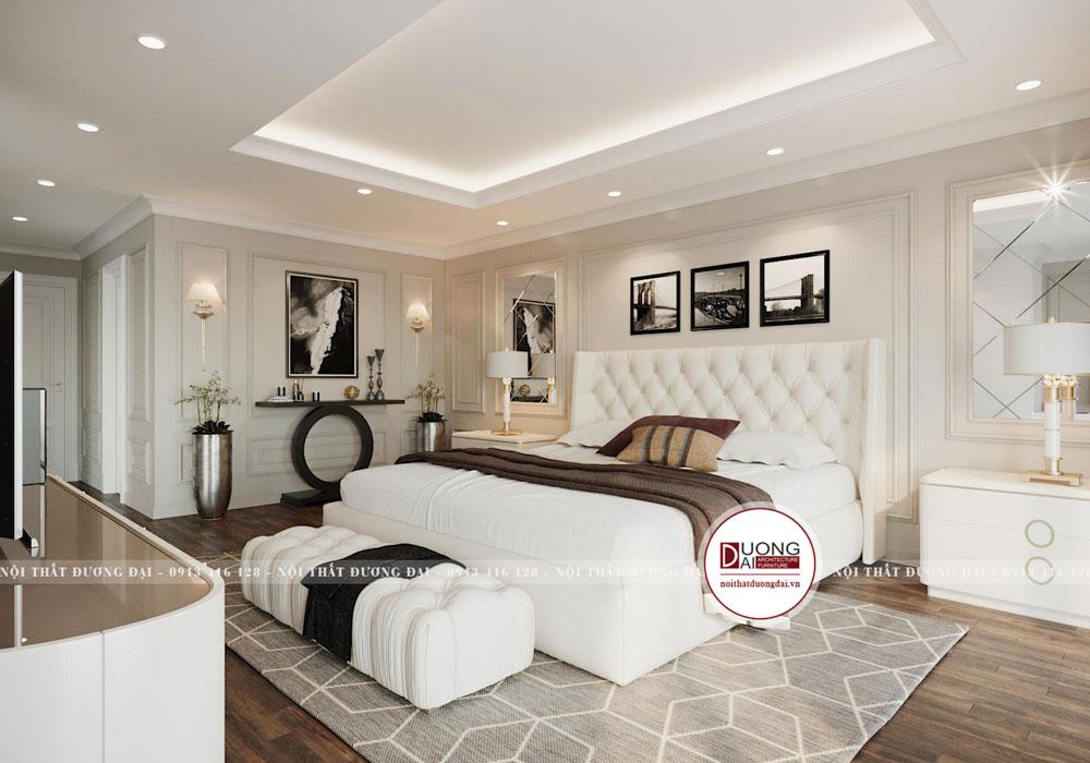Phòng ngủ sang trọng với nội thất cao cấp gam màu trắng