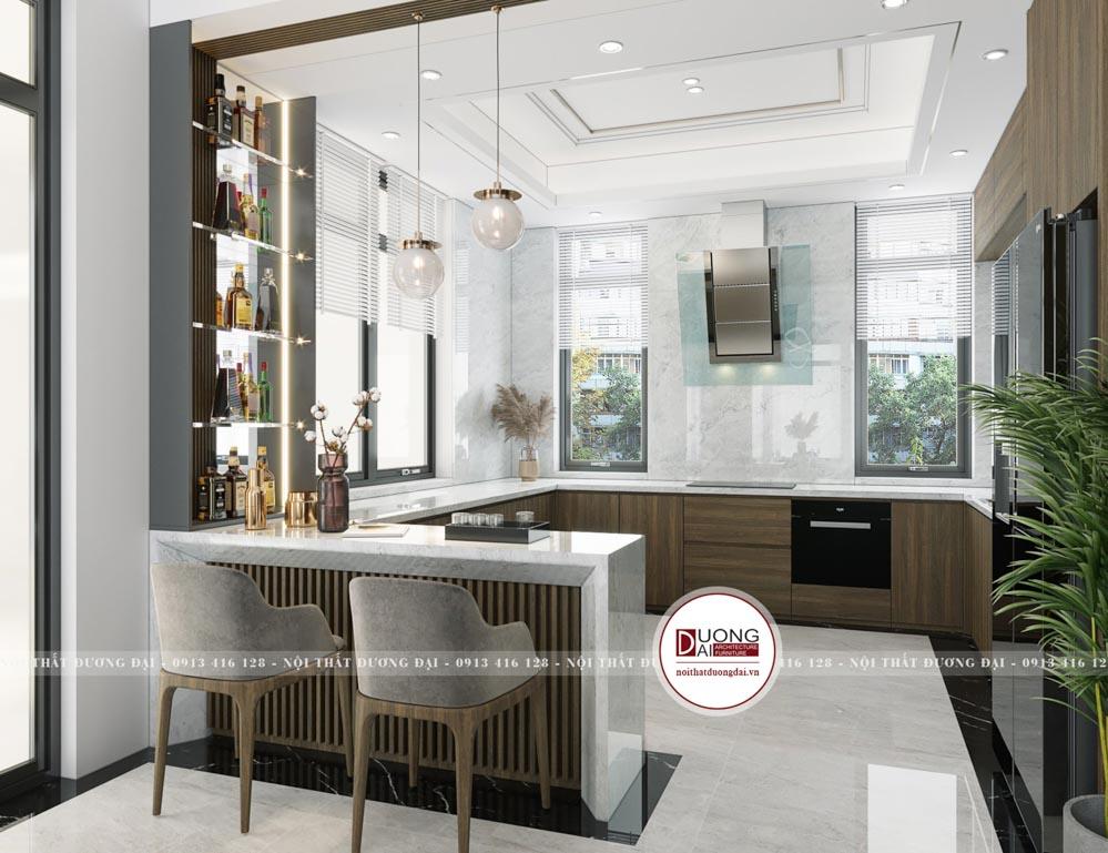 Không gian phòng bếp tiện nghi với quầy bar nhỏ siêu hiện đại