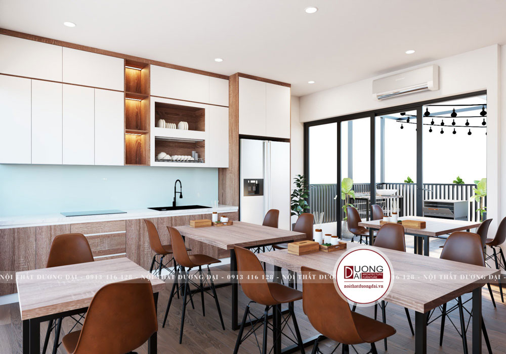 Tủ bếp được trang bị thông minh với thiết kế hiện đại