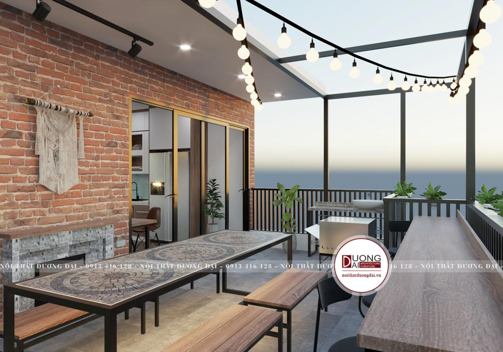 Thiết kế bàn ăn đơn giản phù hợp với không gian sân thượng nhỏ