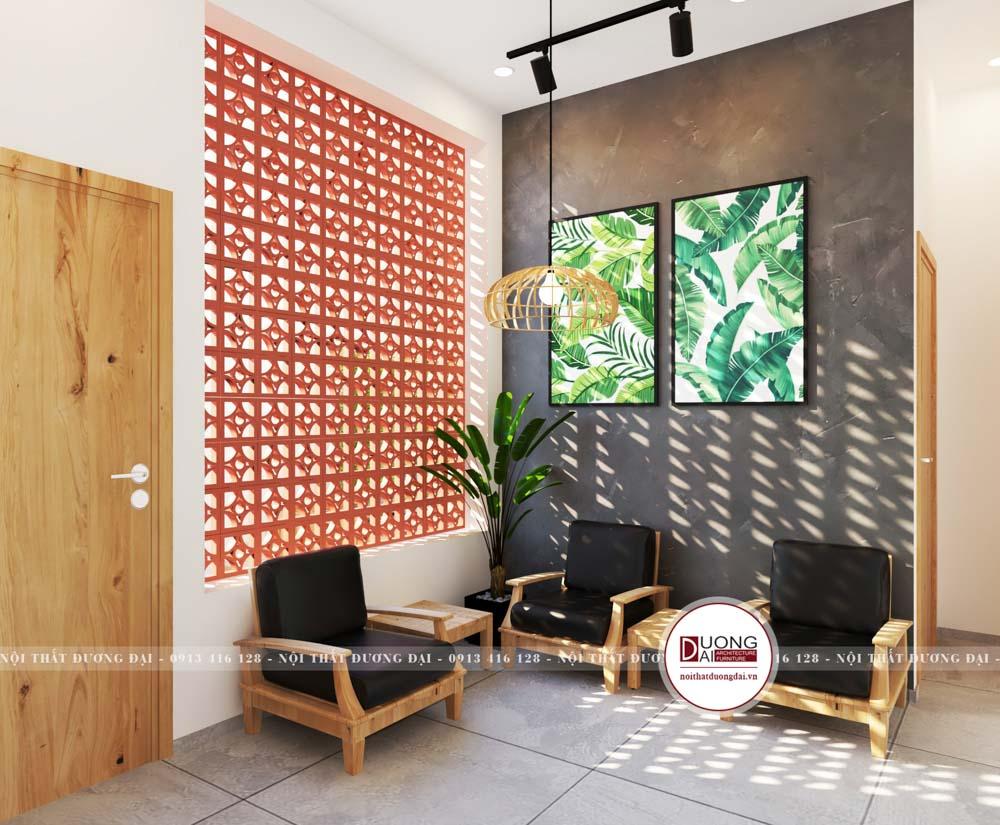 Thiết kế sảnh đón khách đơn giản với bàn ghế gỗ thanh lịch