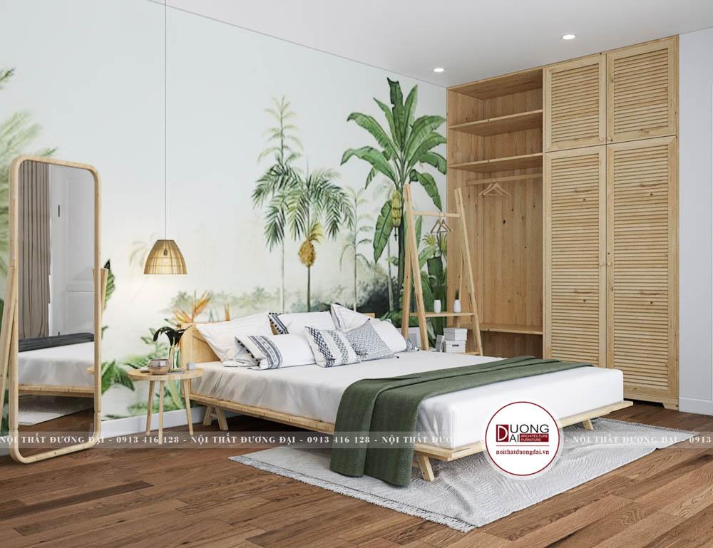 Không gian phòng ngủ xanh mát tạo nên cảm giác thư thái dễ chịu