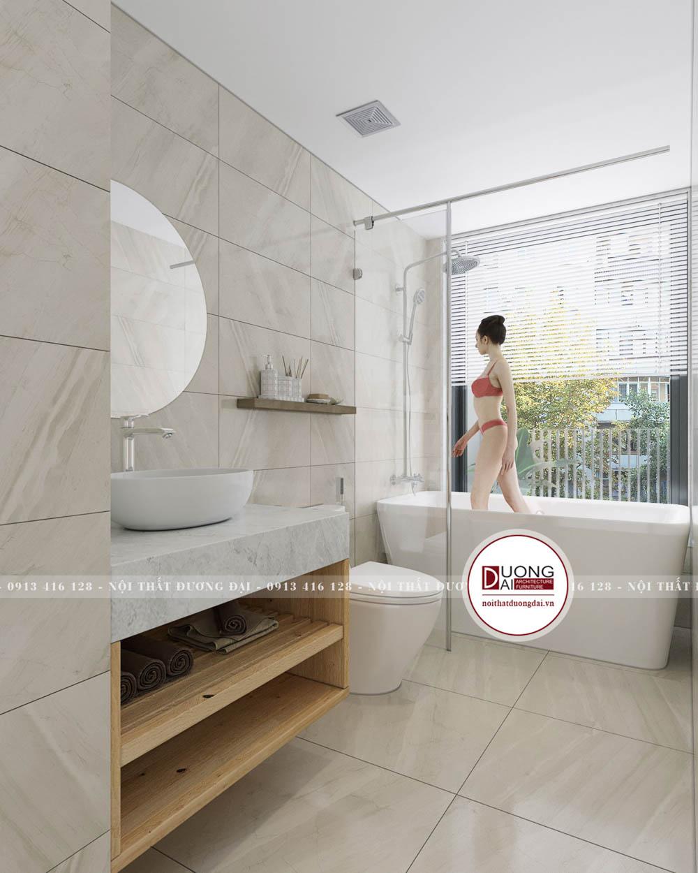 Nhà tắm siêu hiện đại với gạch lát vân mây màu sáng trang nhã