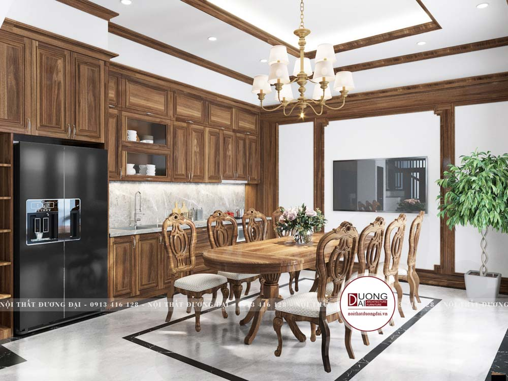 Thiết kế phòng bếp phong cách tân cổ điển sang trọng và uy nghi