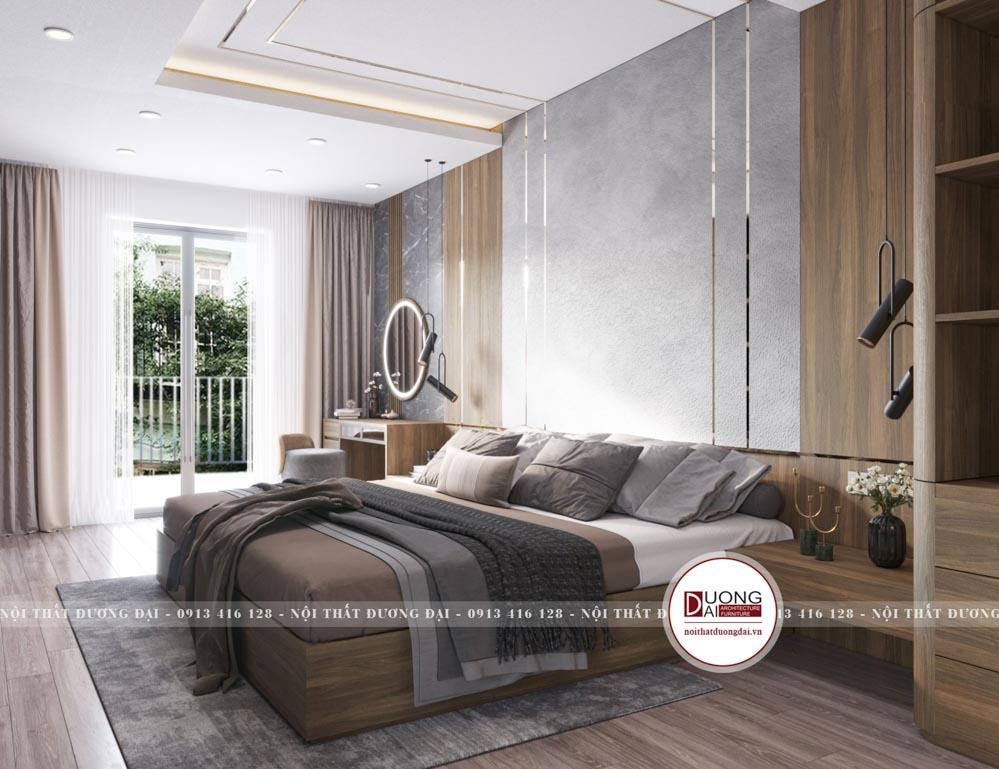 Màu nâu và ghi sáng tạo nên nét sang trọng và ấm áp cho căn phòng