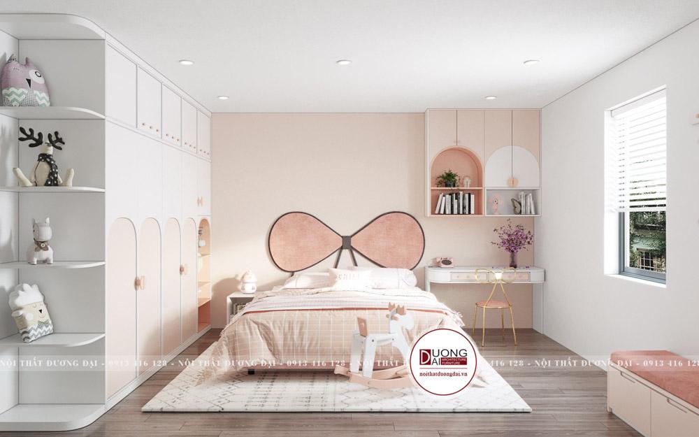 Thiết kế phòng ngủ cho bé gái siêu ngọt ngào với màu hồng nhạt