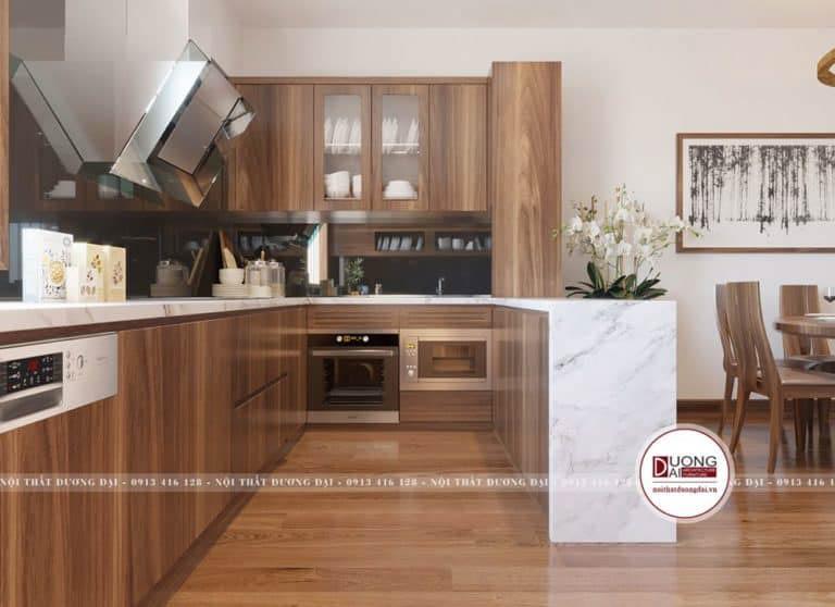 Tủ bếp thiết kế chữ U và được bài trí hợp phong thủy