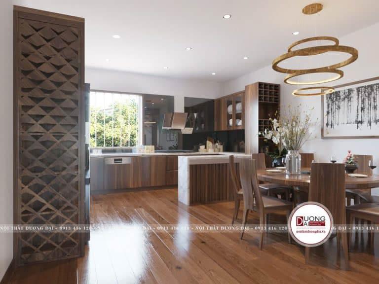 Tủ bếp nhà phố có đảo bếp để tạo thêm không gian cho gia đình