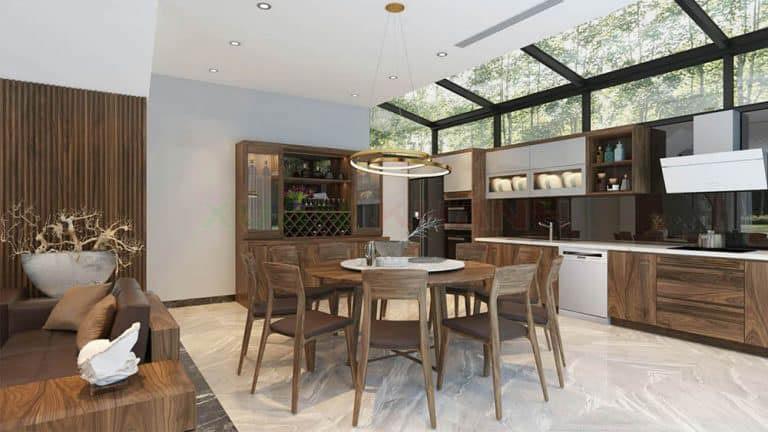 Mẫu tủ bếp với cánh tủ bếp phủ Acrylic màu trắng bóng sáng