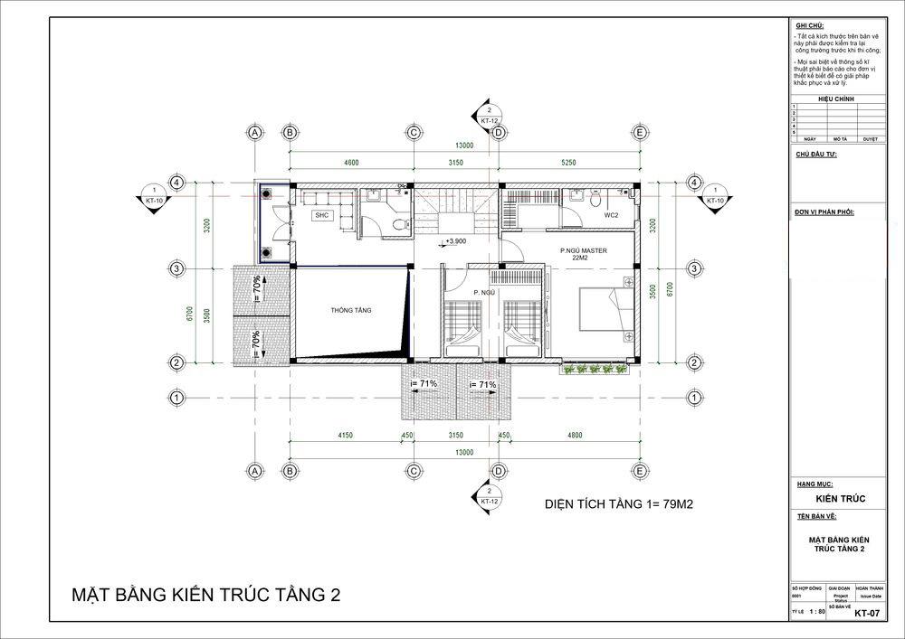 Mặt bằng tầng 2 với 2 phòng ngủ rộng cùng phòng sinh hoạt chung