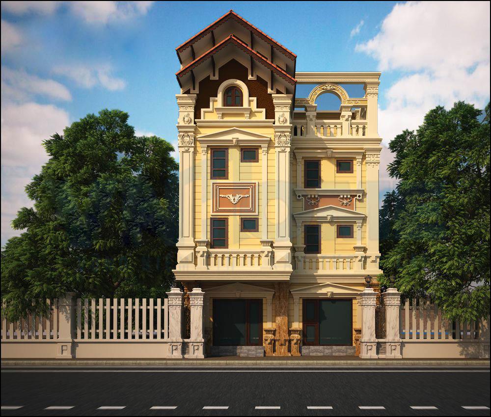 Mái thái cùng kiến trúc nhà 4 tầng uy nghi tạo nên thiết kế siêu sang trọng đẳng cấp