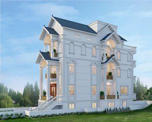 Thiết kế mái thái cùng biệt thự cao tầng tạo nên kiến trúc đầy uy nghi
