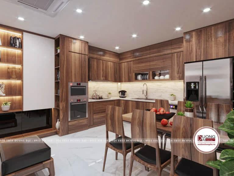 Tủ bếp gỗ sang trọng và tiện nghi với đường vân cuốn hút