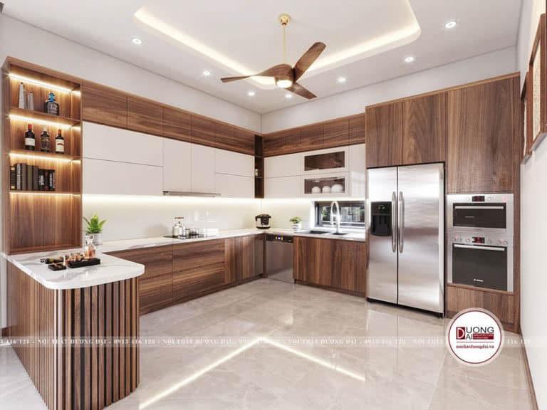 Thiết kế phòng bếp tiện với tủ bếp trên cánh Acrylic hiện đại và trang nhã