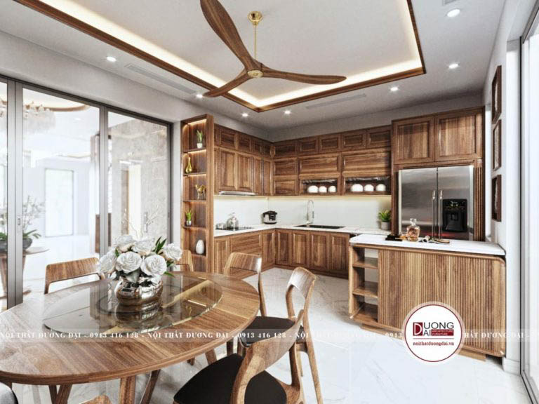 Tủ bếp có đảo bếp nhỏ xinh đầy ấn tượng với chất liệu gỗ cao cấp