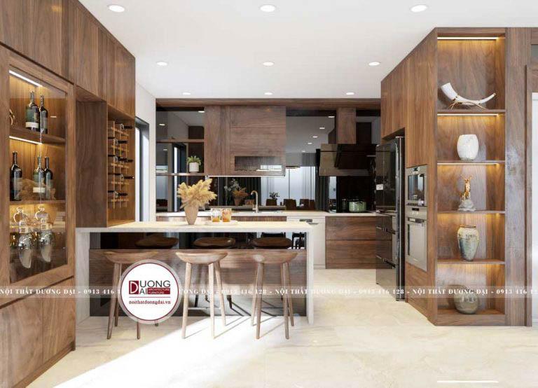 Mẫu thiết kế phòng bếp siêu tiện nghi với quầy bar ấn tượng