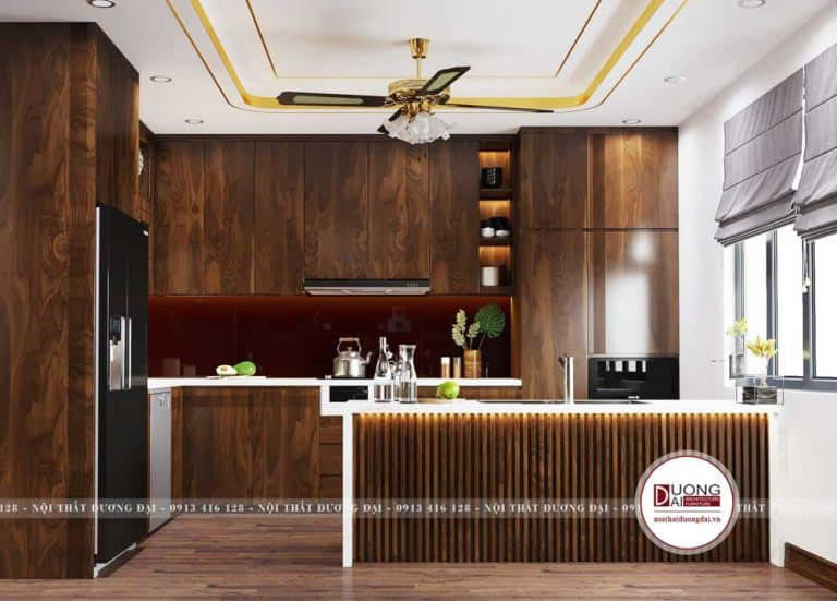 Phòng bếp ấn tượng với tủ bếp làm từ gỗ nhập khẩu Bắc Mỹ