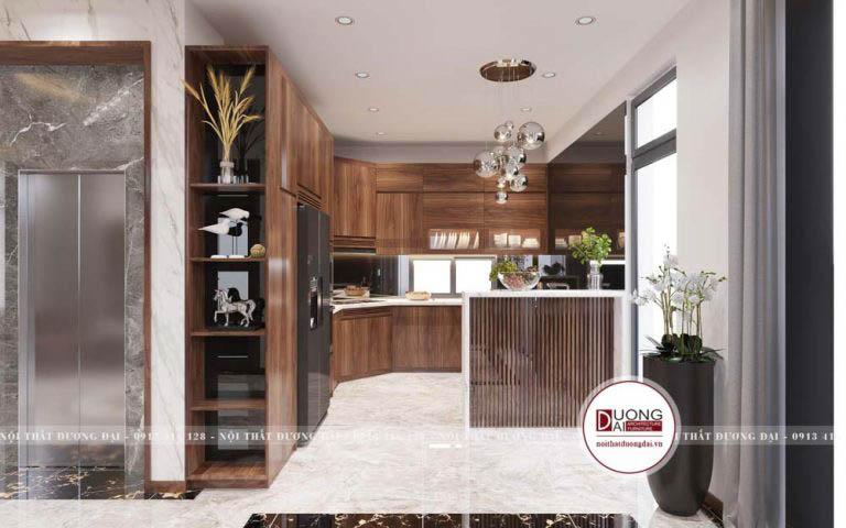 Tủ bếp đầy uy nghi với màu nâu trầm quyến rũ và xa hoa