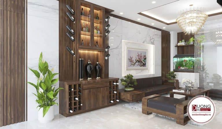 Tủ rượu siêu tiện nghi với nhiều ngăn đựng, đặt trong phòng khách nhà phố