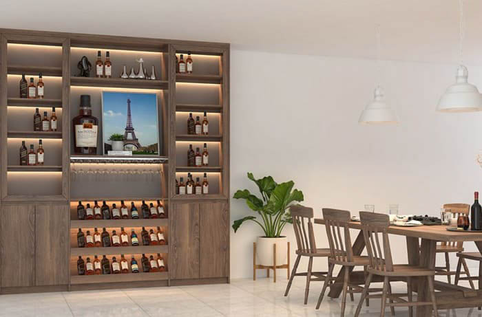 Thiết kế tủ rượu sang trọng cho phòng ăn
