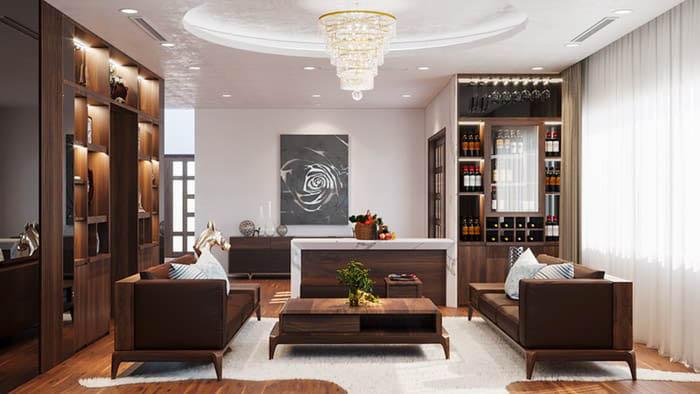 Tủ rượu âm tường nhỏ xinh cho phòng khách