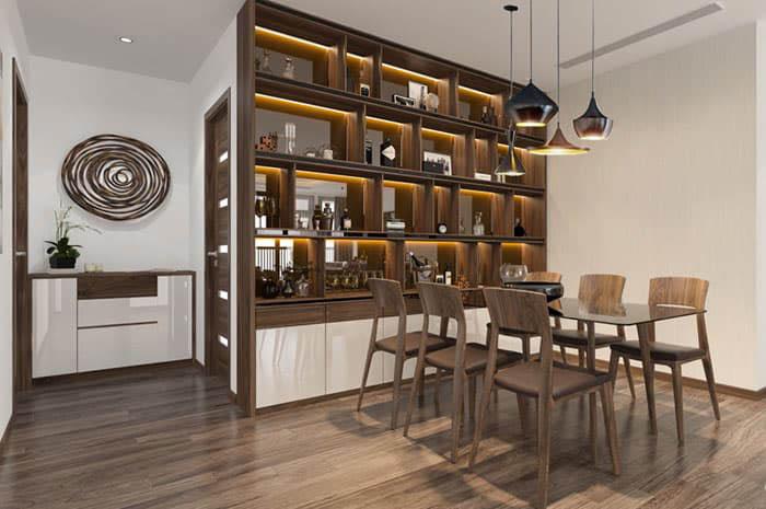Tủ rượu mặt kính sang trọng với thiết kế hiện đại