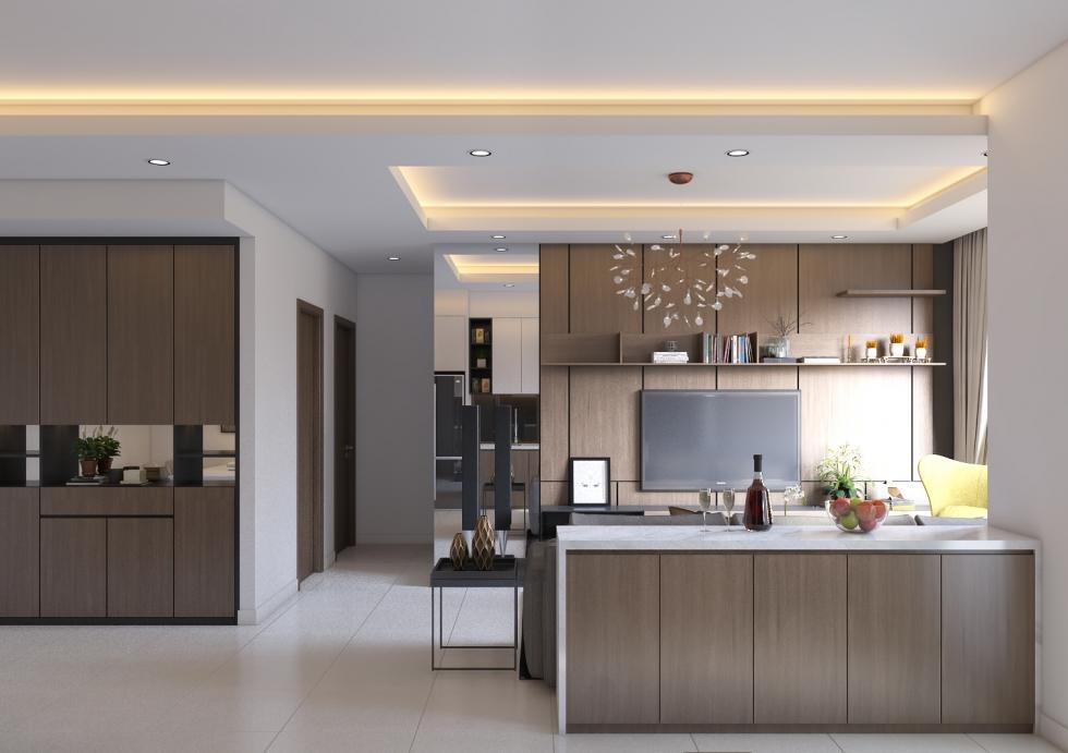 Cách phối màu phòng bếp hiện đại với tông màu gỗ cao cấp