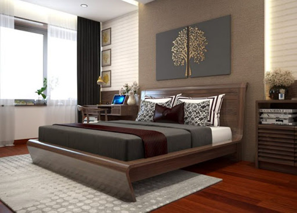 Gỗ óc chó dùng để thiết kế giường ngủ