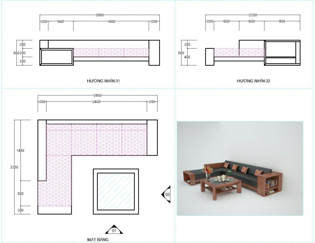 Kích thước sofa gỗ óc chó đóng tầm vai trò cực kỳ quan trọng