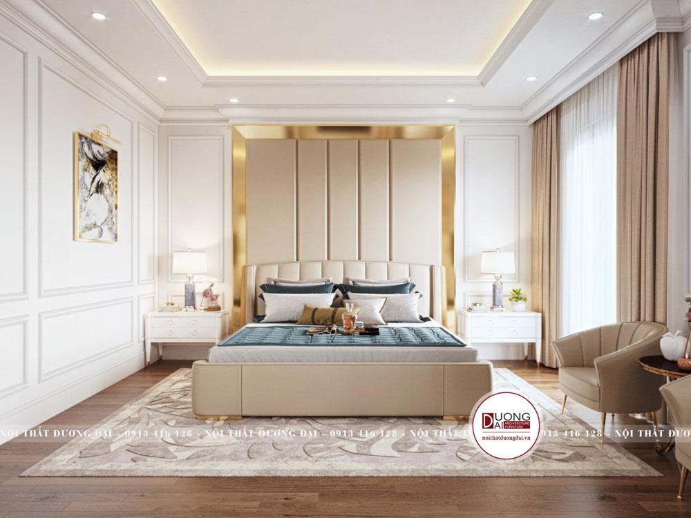Phòng ngủ master với chất liệu nỉ cao cấp