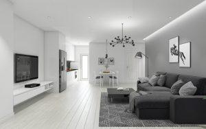 Căn phòng khách màu ghi thêm phần cá tính và sang trọng