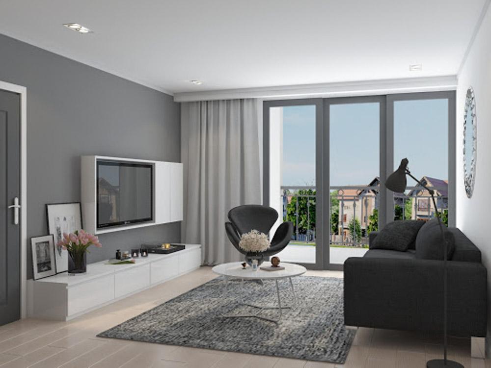 Phòng khách với hệ cửa kính lớn giúp lấy trọn vẹn ánh sáng