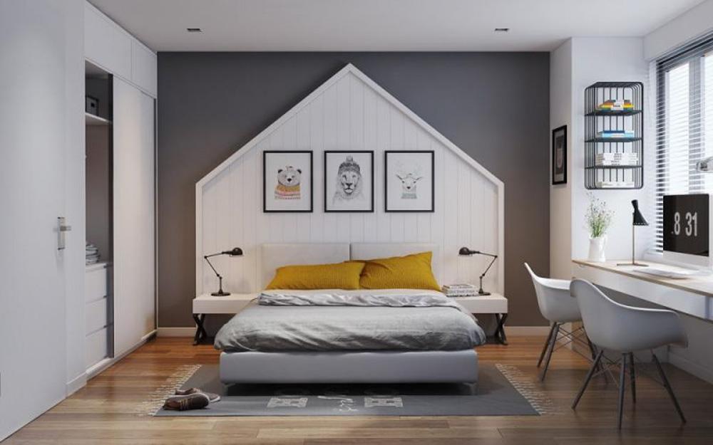Căn phòng ngủ màu ghi cho các cô nàng xinh đẹp