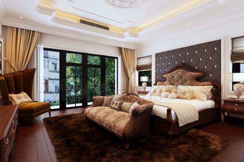 Phòng ngủ tân cổ điển nội thất gỗ óc có cực xa hoa