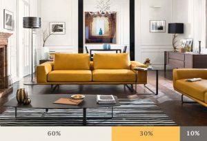 Dựa vào tỷ lệ vàng 60-30-10 để phối màu phòng khách