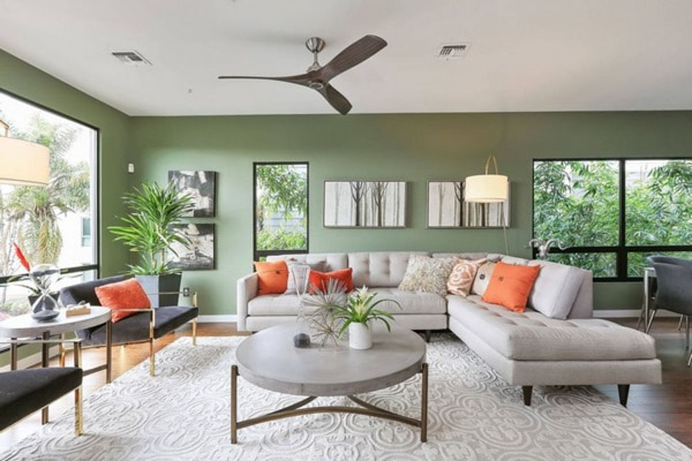 Sự kết hợp phối màu phòng ngủ màu xanh cam hiện đại