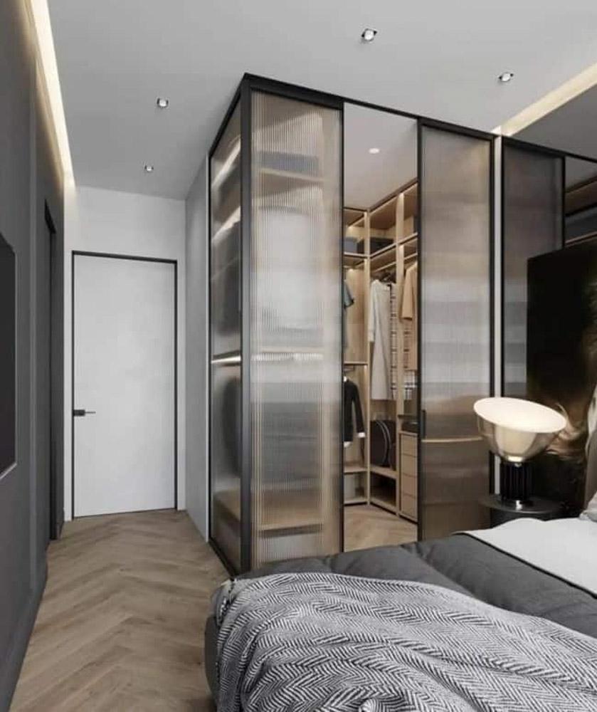 Mẫu thiết kế ngủ và phòng thay đồ bằng kính mờ