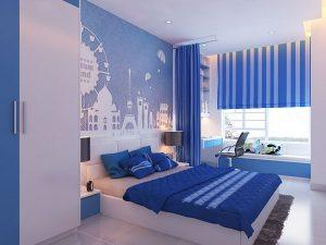 Phòng ngủ màu xanh dương là gam màu được nhiều gia đình lựa chọn