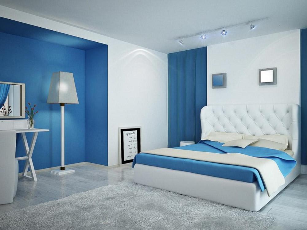 phòng ngủ màu xanh dương dùng khoảng sáng