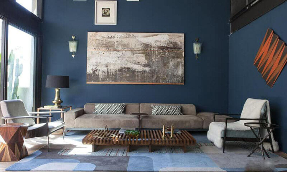 phòng ngủ màu xanh dương huyền bí
