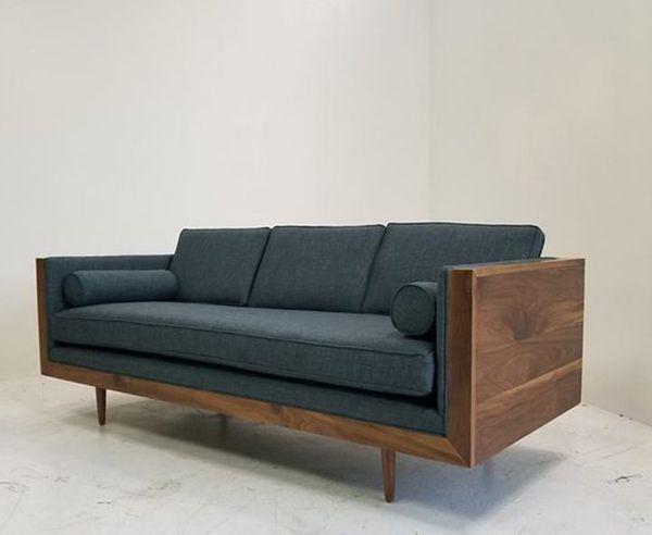 Sofa bọc da màu xanh sang trọng và tinh tế