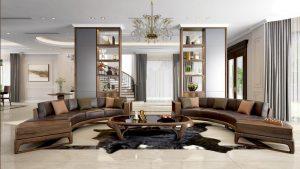 Sofa gỗ óc chó bọc da hay bọc nỉ đều có ưu điểm riêng