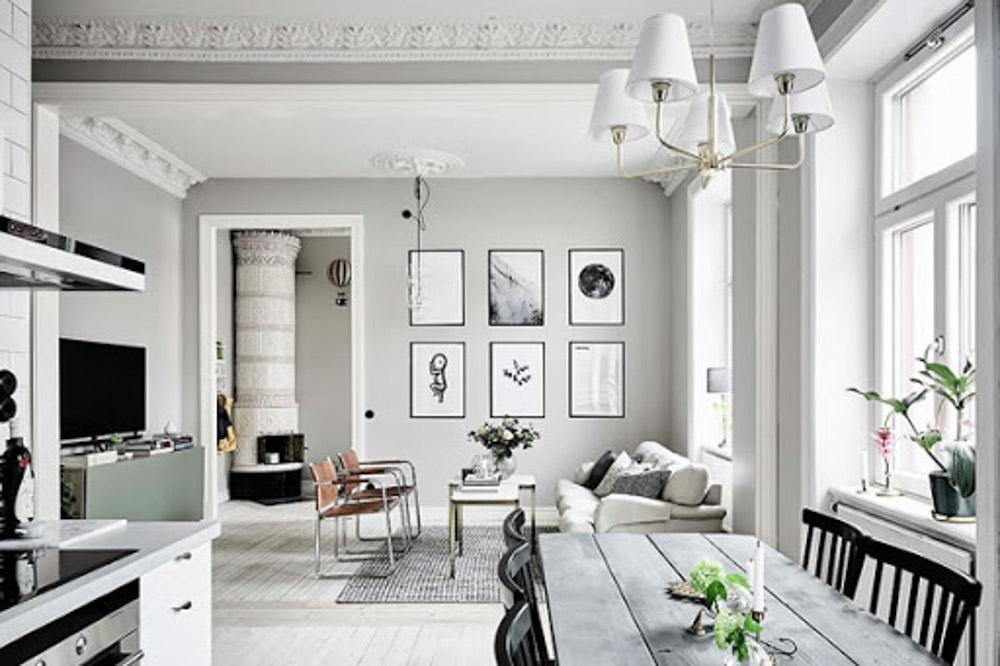 Sử dụng màu trắng để làm nổi bật các họa tiết căn phòng